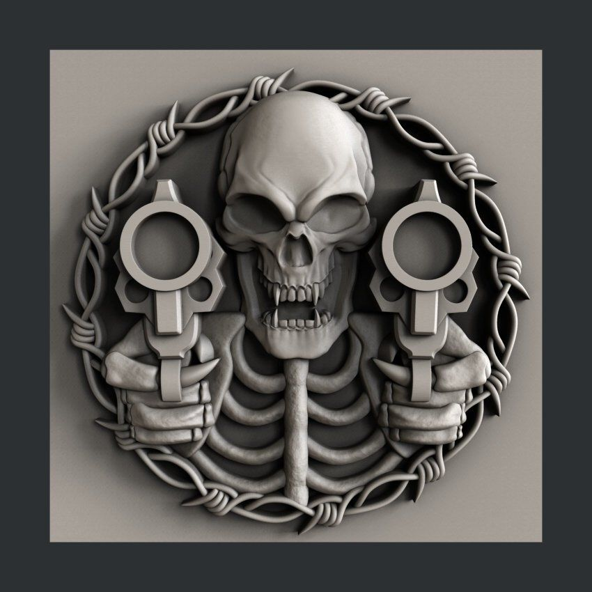 3d STL models for CNC skull guns Skull art, Skull, Cnc
