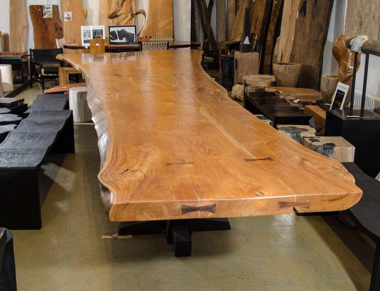 andrianna shamaris massive teak wood live edge dining table dining room table teak and tables. Black Bedroom Furniture Sets. Home Design Ideas