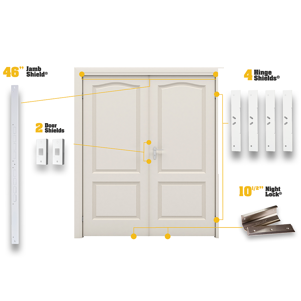 Base Ez Armor Double Door Assembly Includes 1 Ez Armor Jamb Shield 4 Ez Armor Hinge Shields And 2 Ez Armor Mini Doo Double Doors Single Entry Doors Door Kits