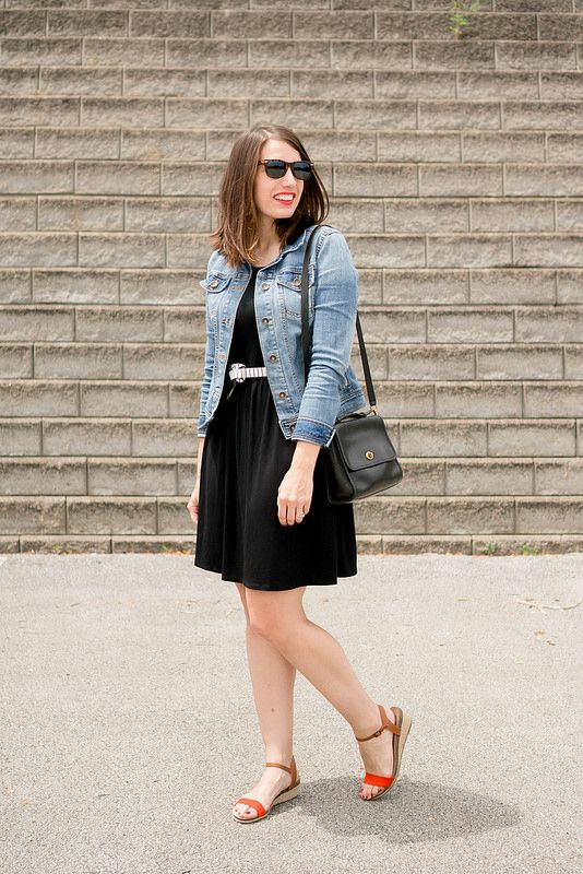 black Old Navy dress   stripe belt   denim jacket   black coach ...