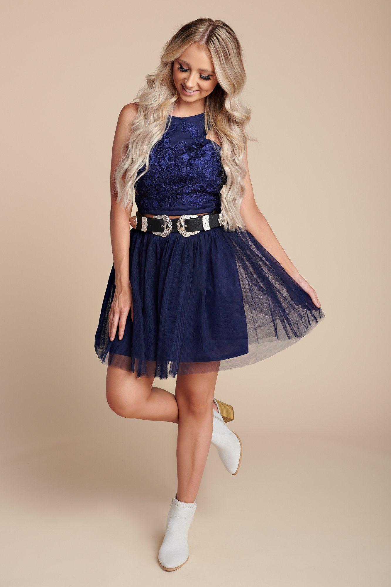 Blue dreams lace two piece set navy clothes for women