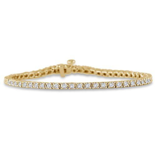 A Sparkling Classic 2 Carat Round Diamond Tennis Bracelet Crafted In Solid 10k Yellow Gold A Must Have In An Tennis Bracelet Diamond Tennis Bracelet Bracelets