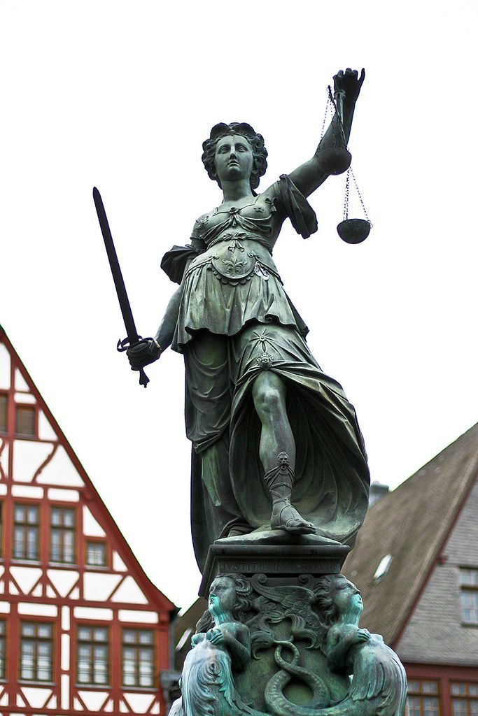 statue of lady justice in frankfurt arts pinterest