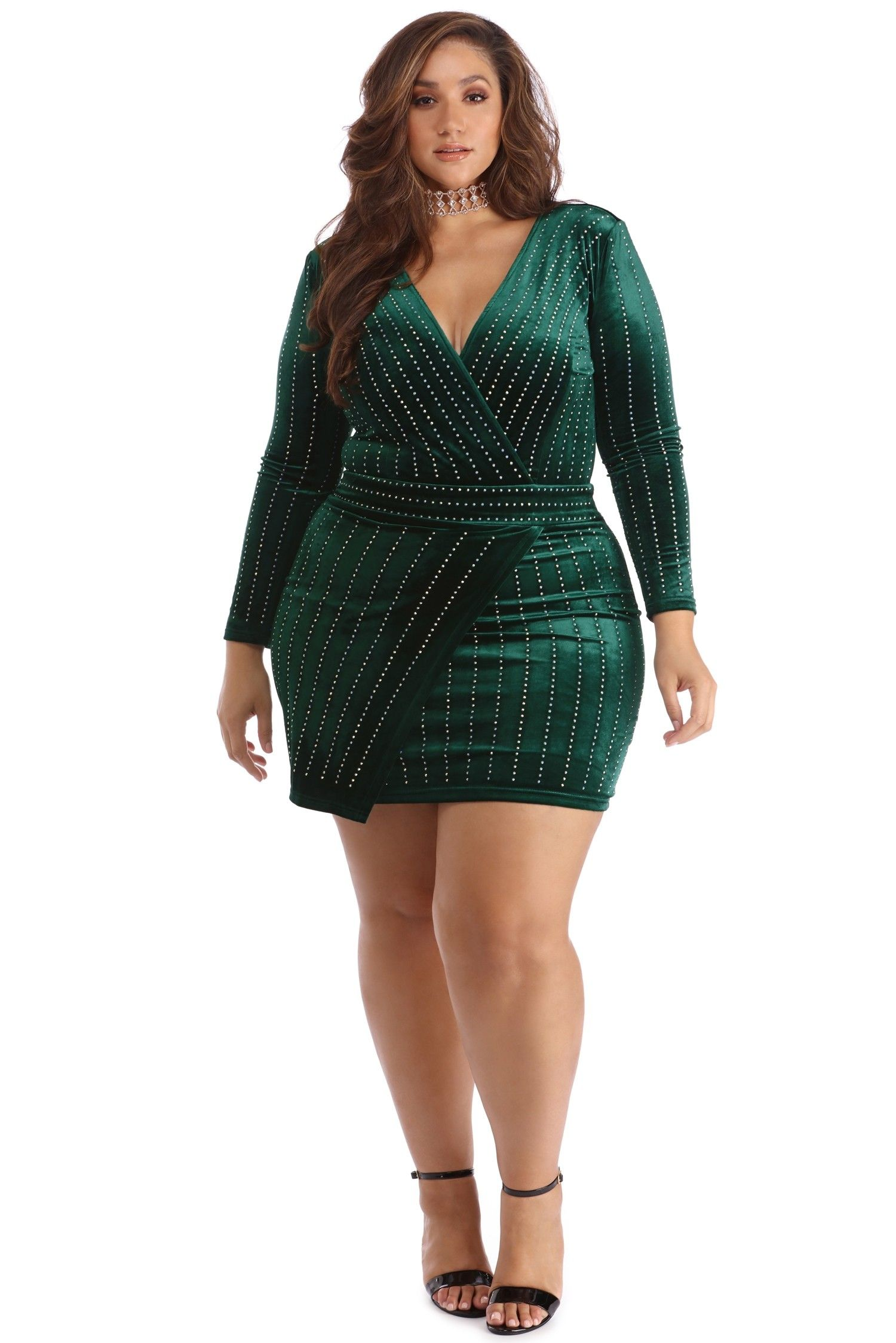 1d180dab625 Plus Cassie Emerald Velvet Wrap Dress