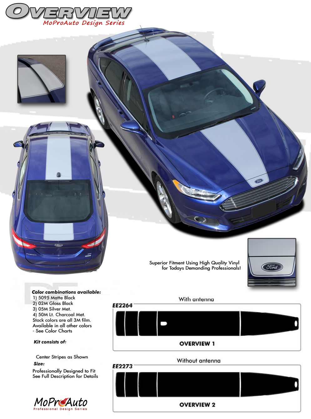 Overview Ford Fusion Center Hood Racing Stripes Vinyl Graphics