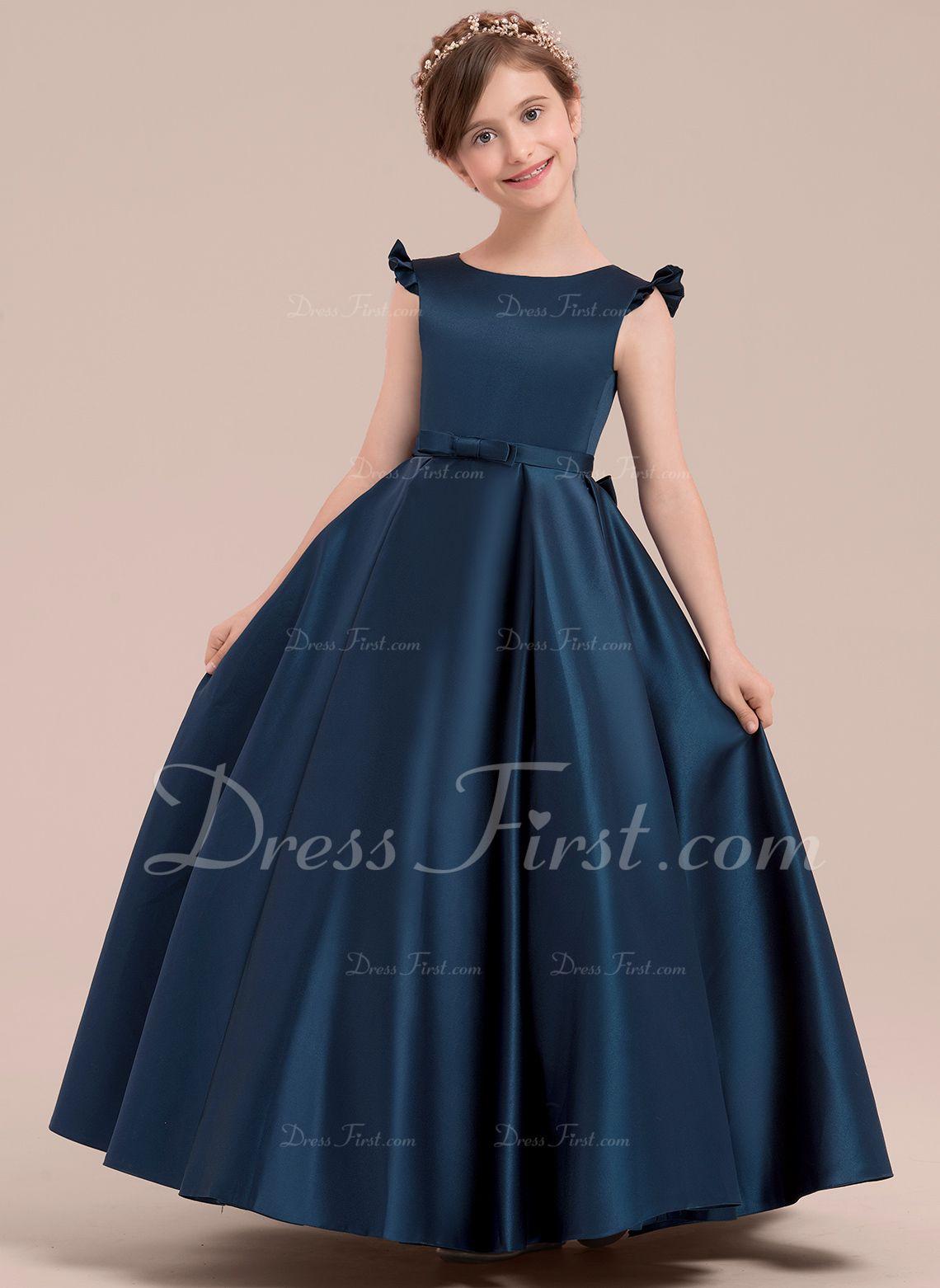 11edc09ce1 Ball Gown Floor-length Flower Girl Dress - Satin Sleeveless Scoop Neck With  Bow(s) (010143250) - Flower Girl Dresses - DressFirst