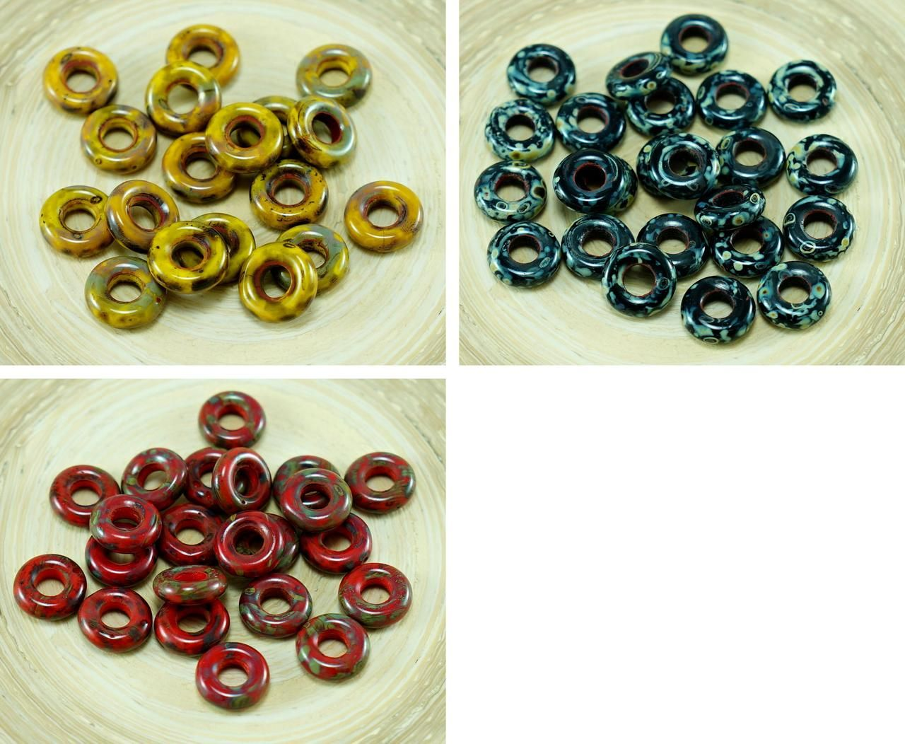 Color: Picasso / Opaque (mm): size (mm): 4mm (approximately) Shape: Round / Flat Ring Beads / O Shaped / Large Hole Donut Sold in packs of 40pcs ► Beautiful beads exclusively created by Anissa Picasso designers, you can find other products using #anissa picasso or #AnissaPicasso!◄ 40pcs Anissa Picasso Opaque [...]