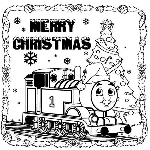 Thomas The Train Saying Merry Christmas To You Coloring Pages