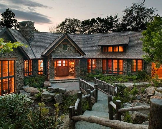 Awesome home entrance entry with beautiful landscape for Mountain bridge floor plans