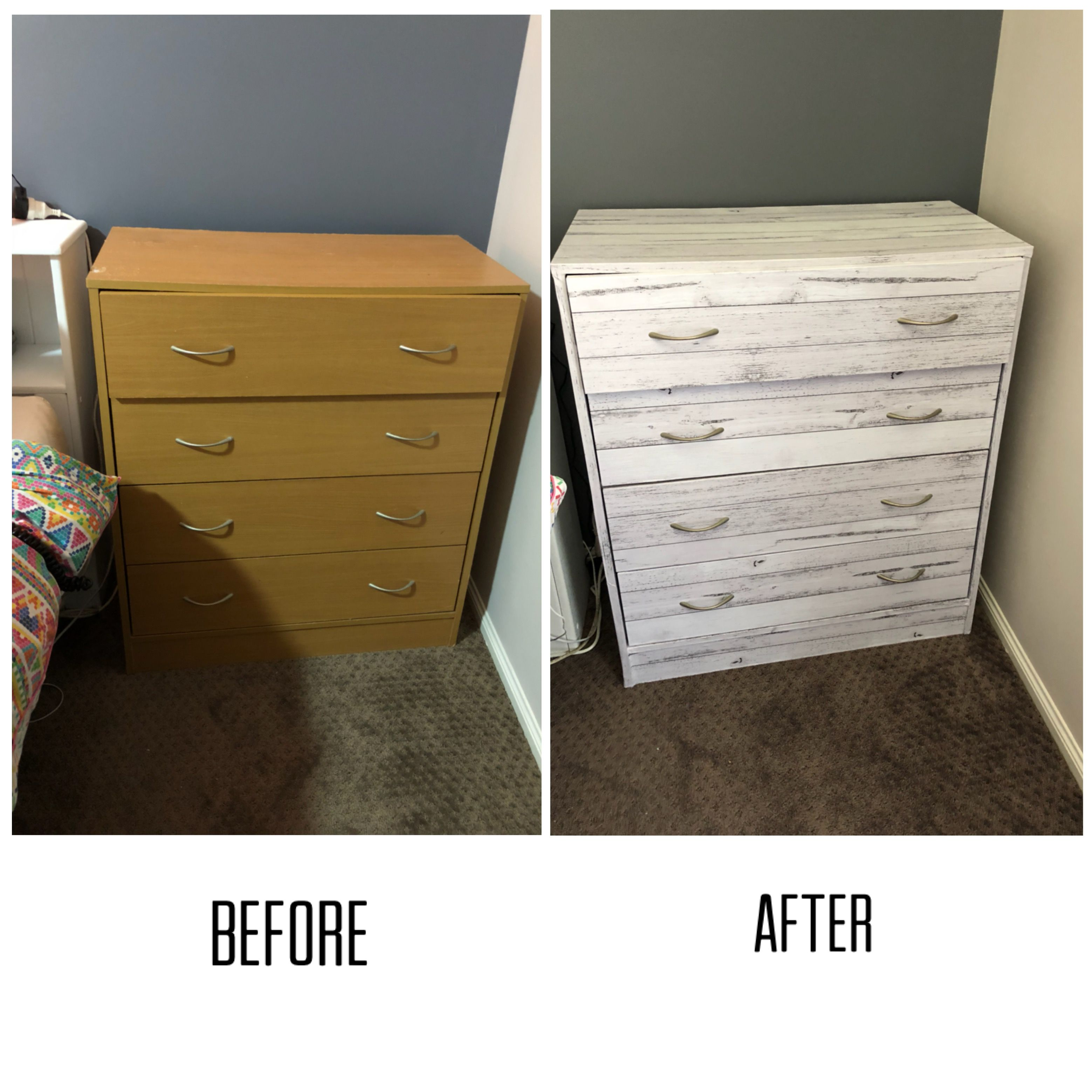 Vinyl Wrapping Old Chest Of Drawers Purchased Vinyl Wrap From Kmart For 3 A Roll Used 2 Rolls Was Ea Vinyl Wrap Furniture Home Decor Hacks Chest Of Drawers