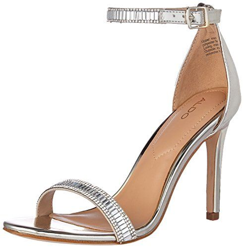 ff684af316f5 Aldo Women s Sevoredia Dress Sandal. High heeled ankle strap sandal with  synthetic sole. Available in  Silver