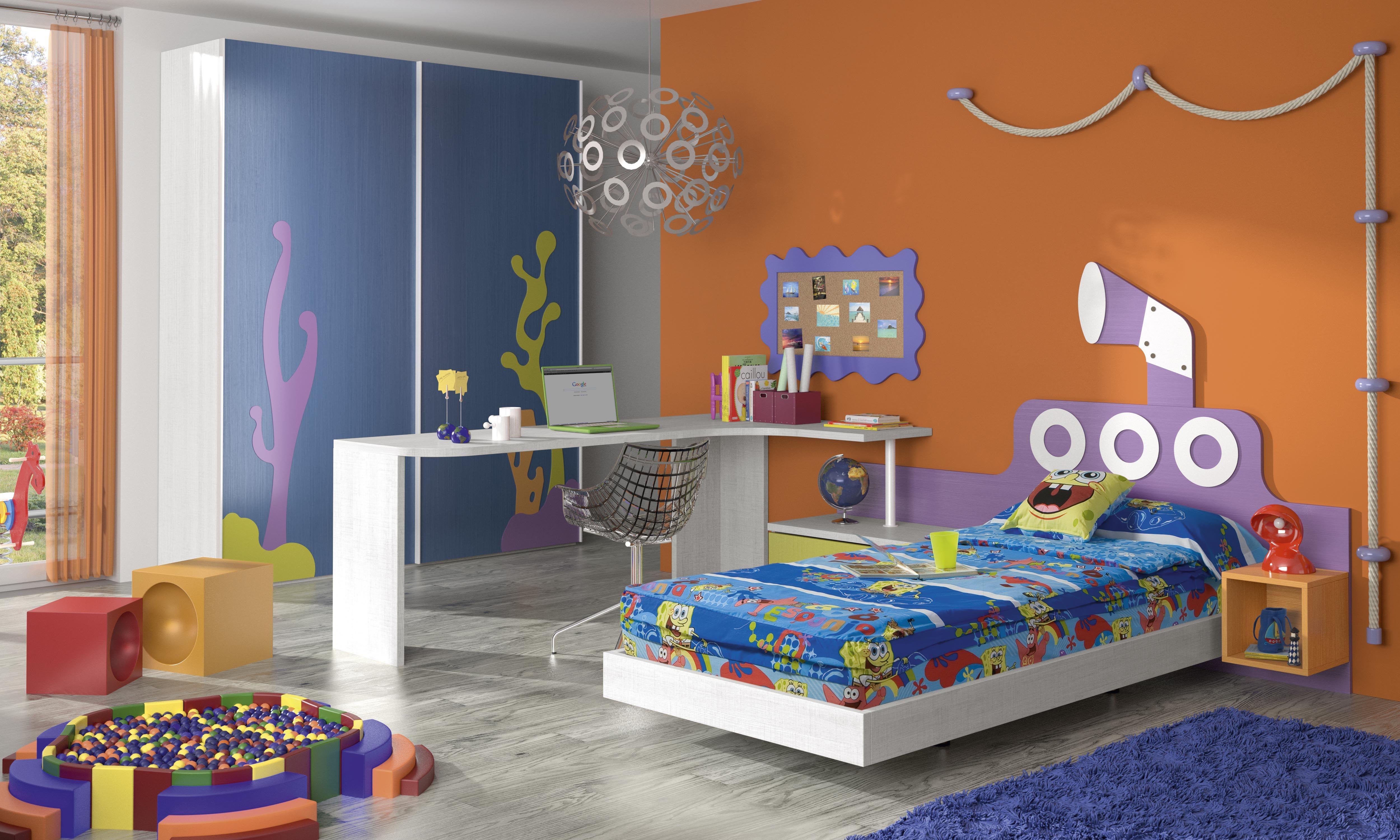 Habitaci n infantil tem tica dibujos animados bob2 fondo - Dibujo pared habitacion infantil ...