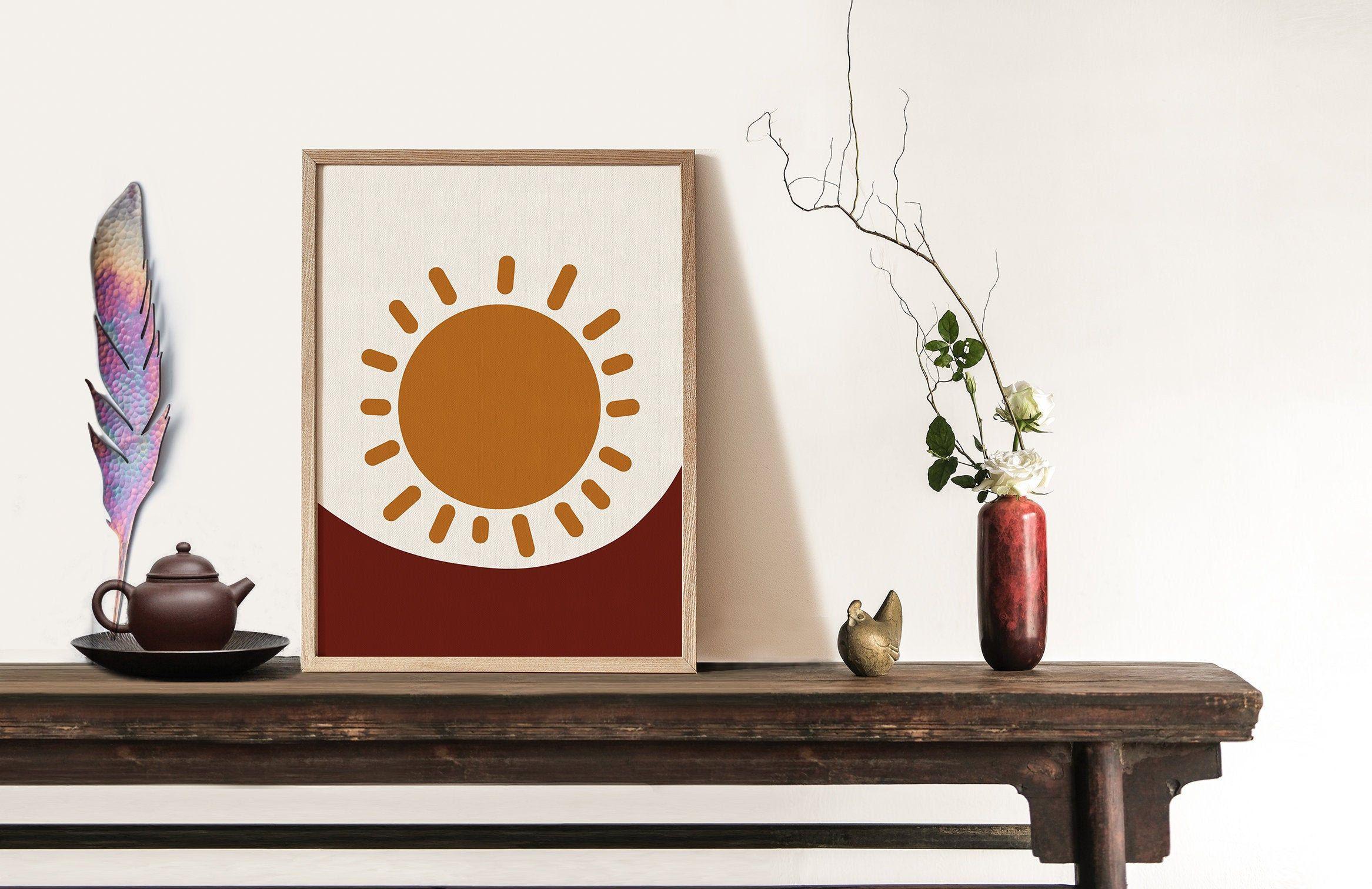 Terracotta Orange Sun Print, Minimal abstract wall art