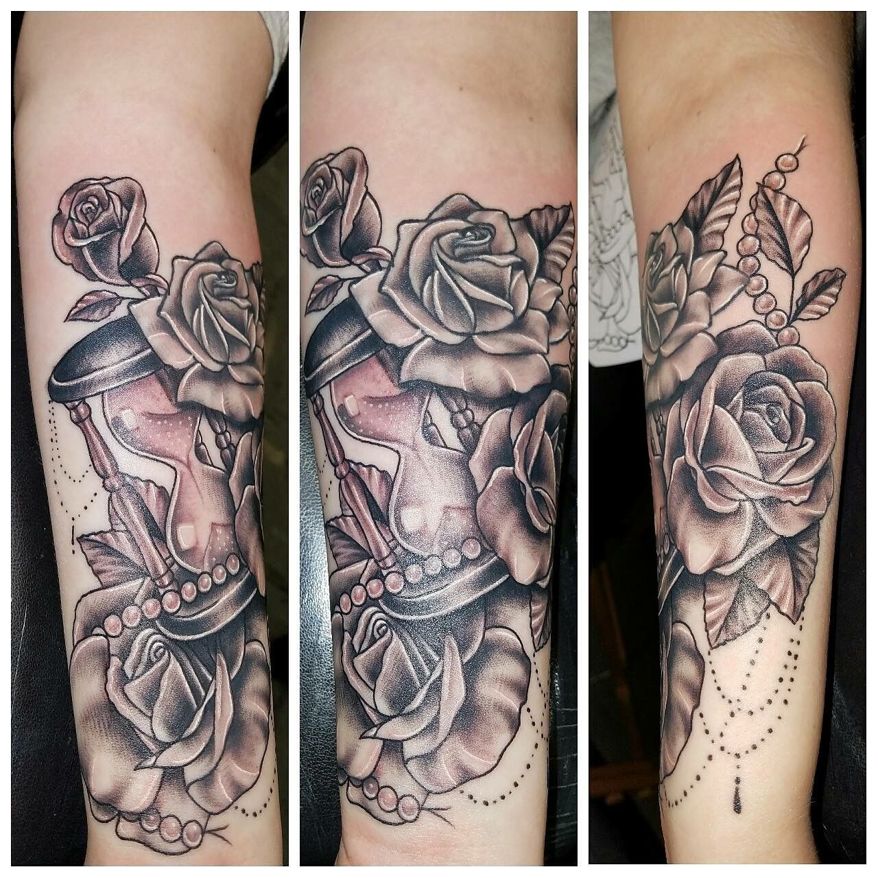 Tattoo Roses Pearls Hourglass Arm Leafs Orovillesliverscreen