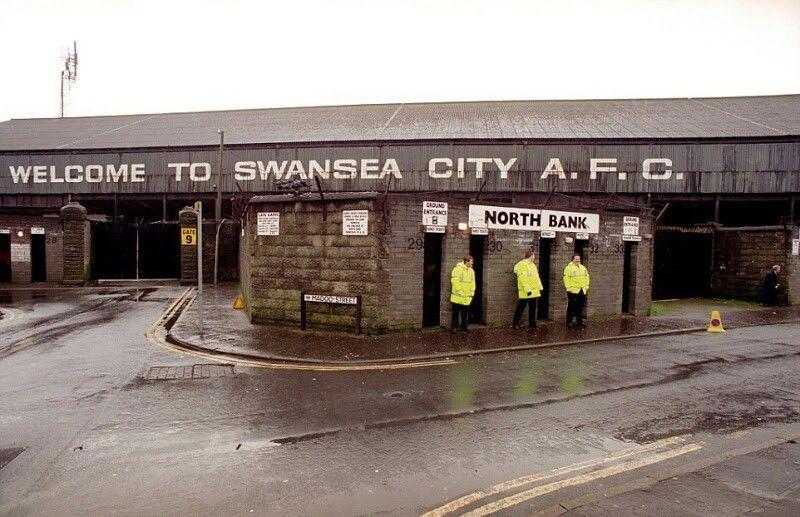 The Vetch Field, Swansea City in the 1980s. Swansea city