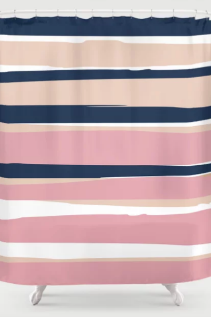 Pretty Bathroom Ideas Abstract Stripes Modern Pattern Blush