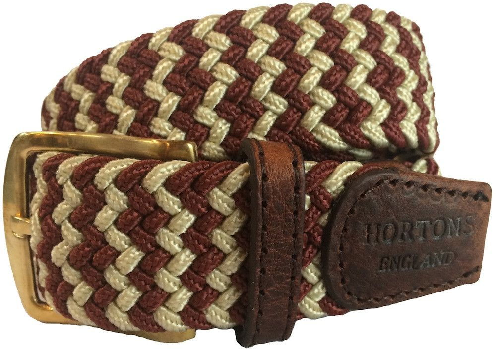 Men's Woven Elasticated Belt - Burgundy & Cream