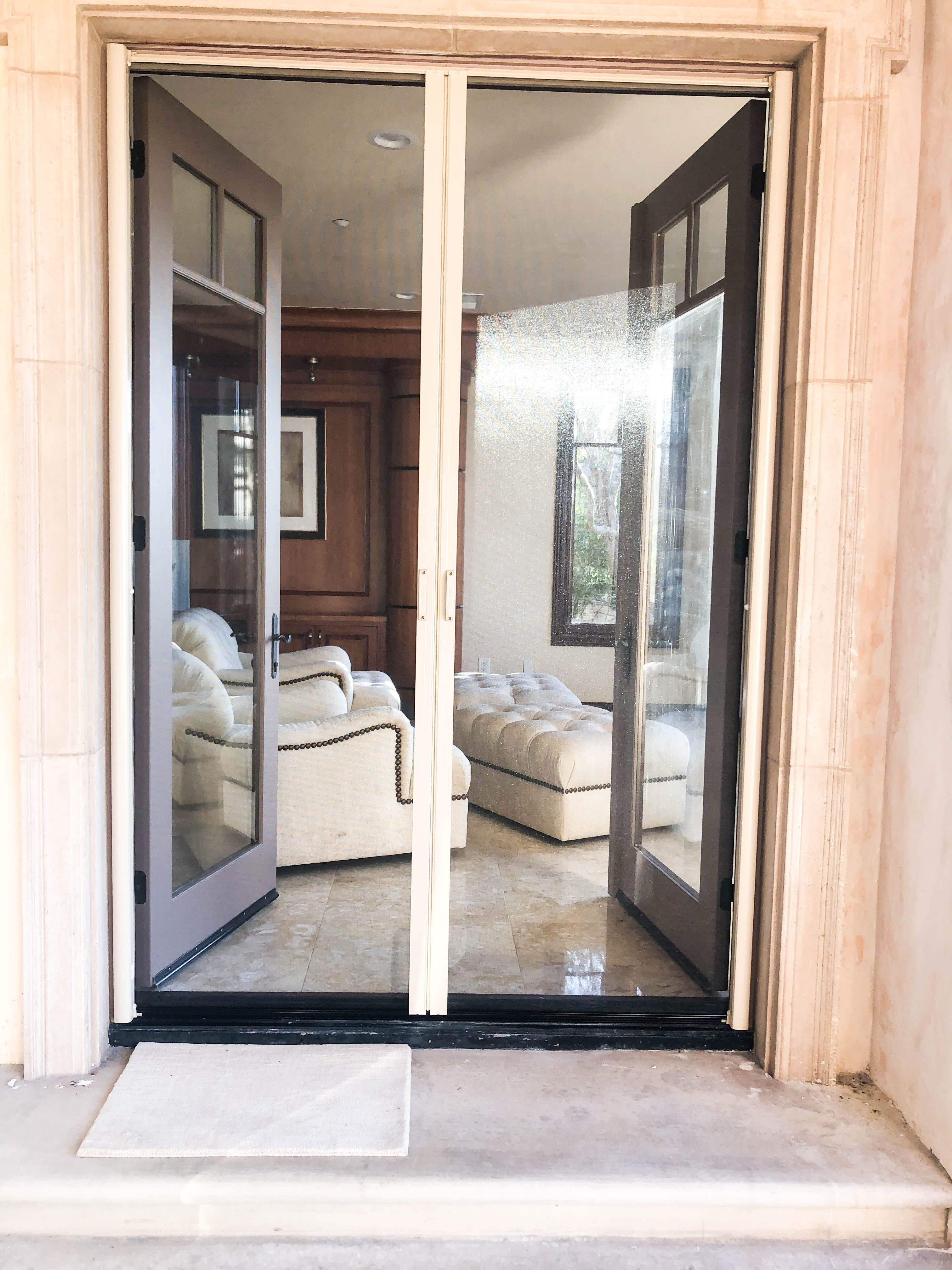 Let The Fresh Air Into Your Home Without Letting The Bugs In With It Check Out These Double Retractabl In 2020 Retractable Screen French Doors Retractable Screen Door
