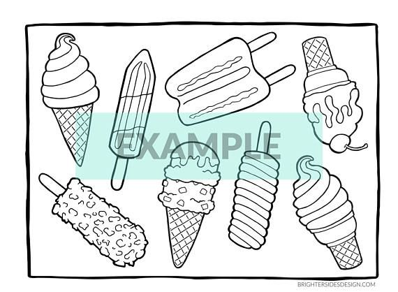 Summer Dessert Coloring Pages Ice Cream Popsicles Cute Etsy Coloring Pages Summer Desserts Food Coloring Pages
