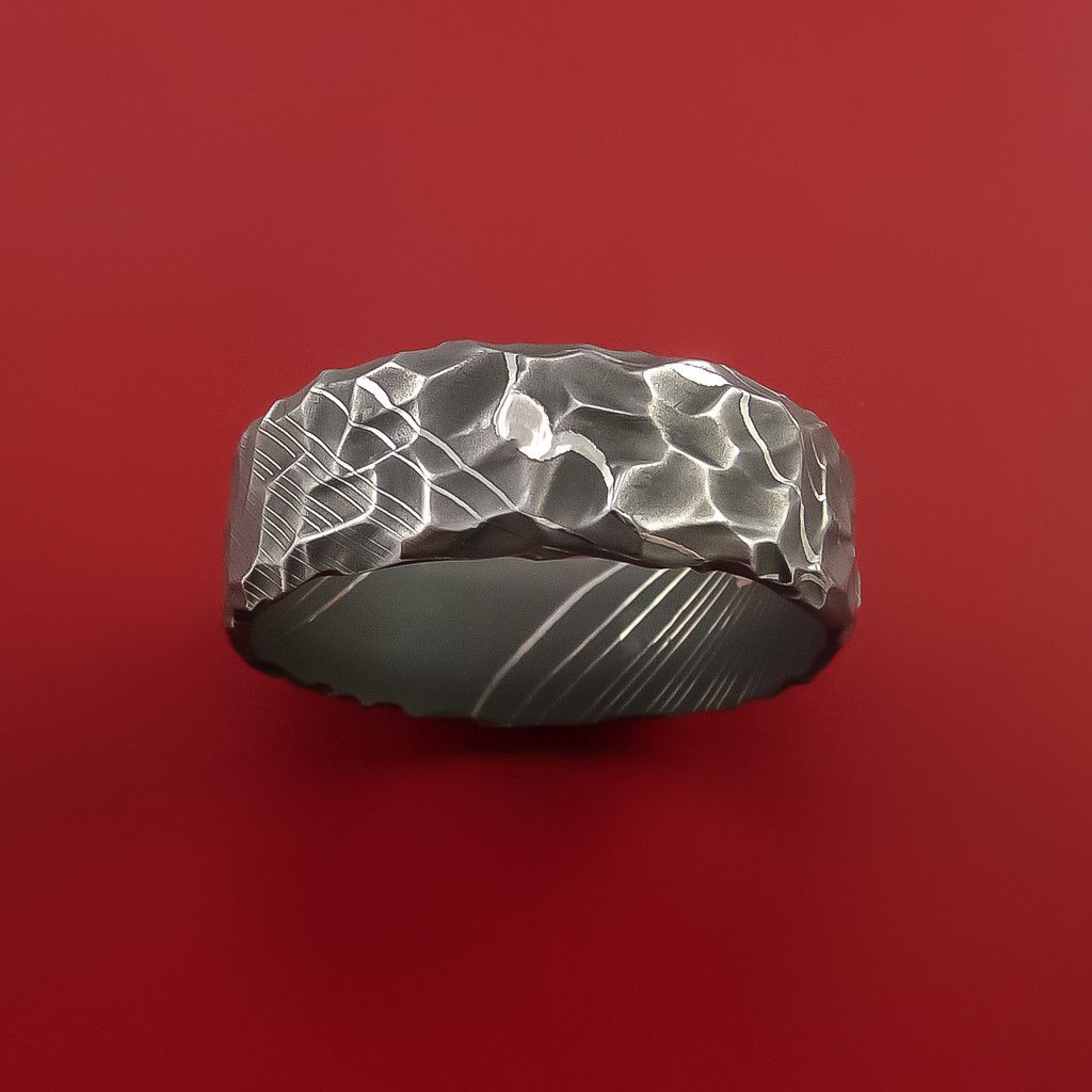 damascus steel wedding bands Damascus Steel Ring with Hammer Rock Finish Custom Made to Any Size