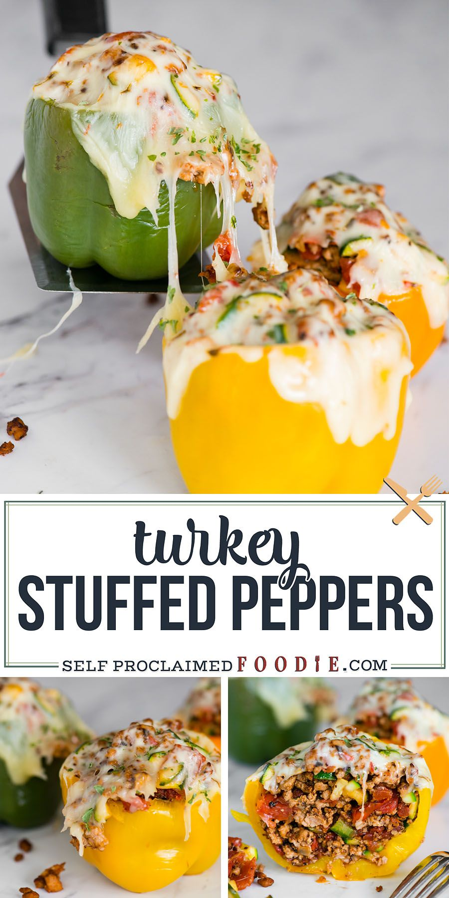 Ground Turkey Stuffed Peppers Recipe | Self Proclaimed Foodie