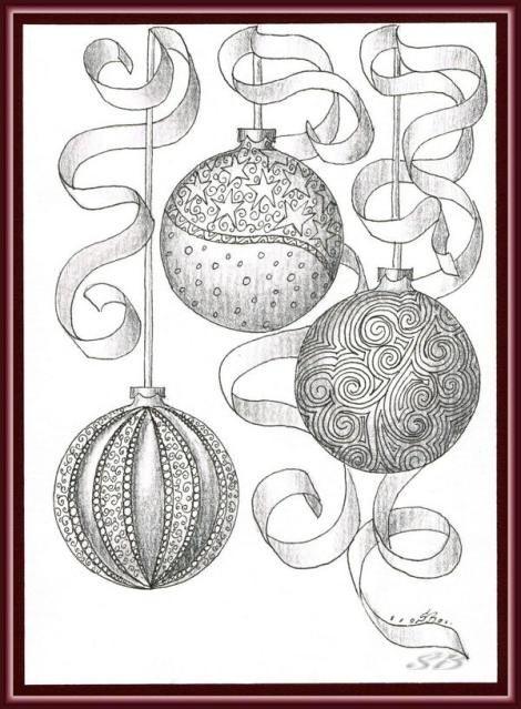 Colorful Christmas Ornaments Drawings.Christmas Ball Ornaments Drawing C Simone