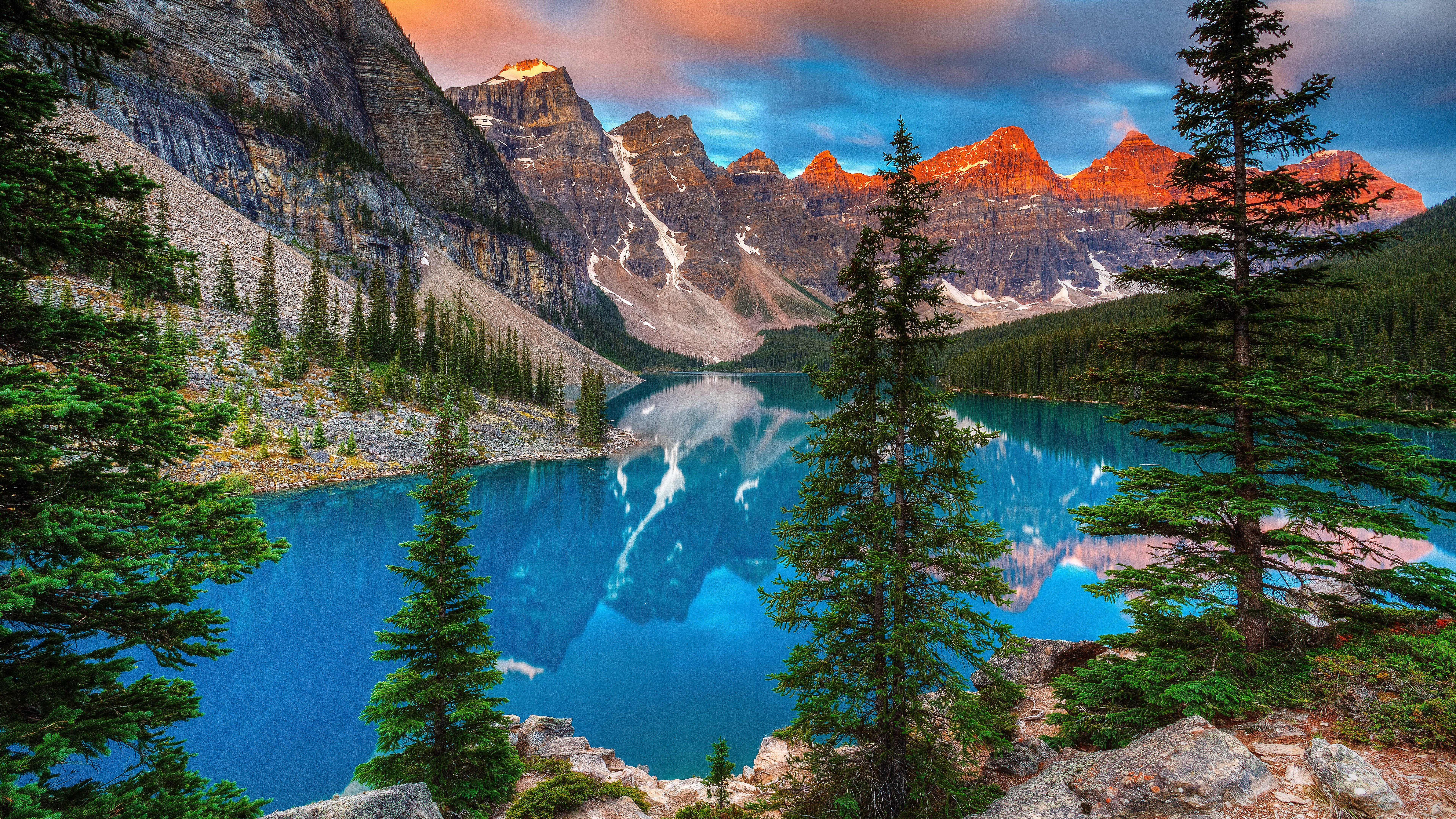 mountain blue lake 8k desktop background Banff national