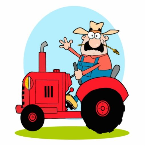 Drawing Man On Tractor : Cartoon tractor farmer riding a red