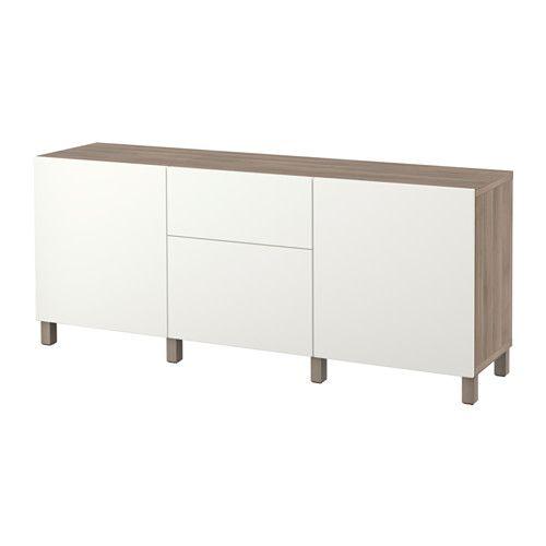BESTÅ Comb arrumação c/gavetas - efeito nogueira velat cinz/Lappviken branco, calha p/gaveta, fecho suave - IKEA