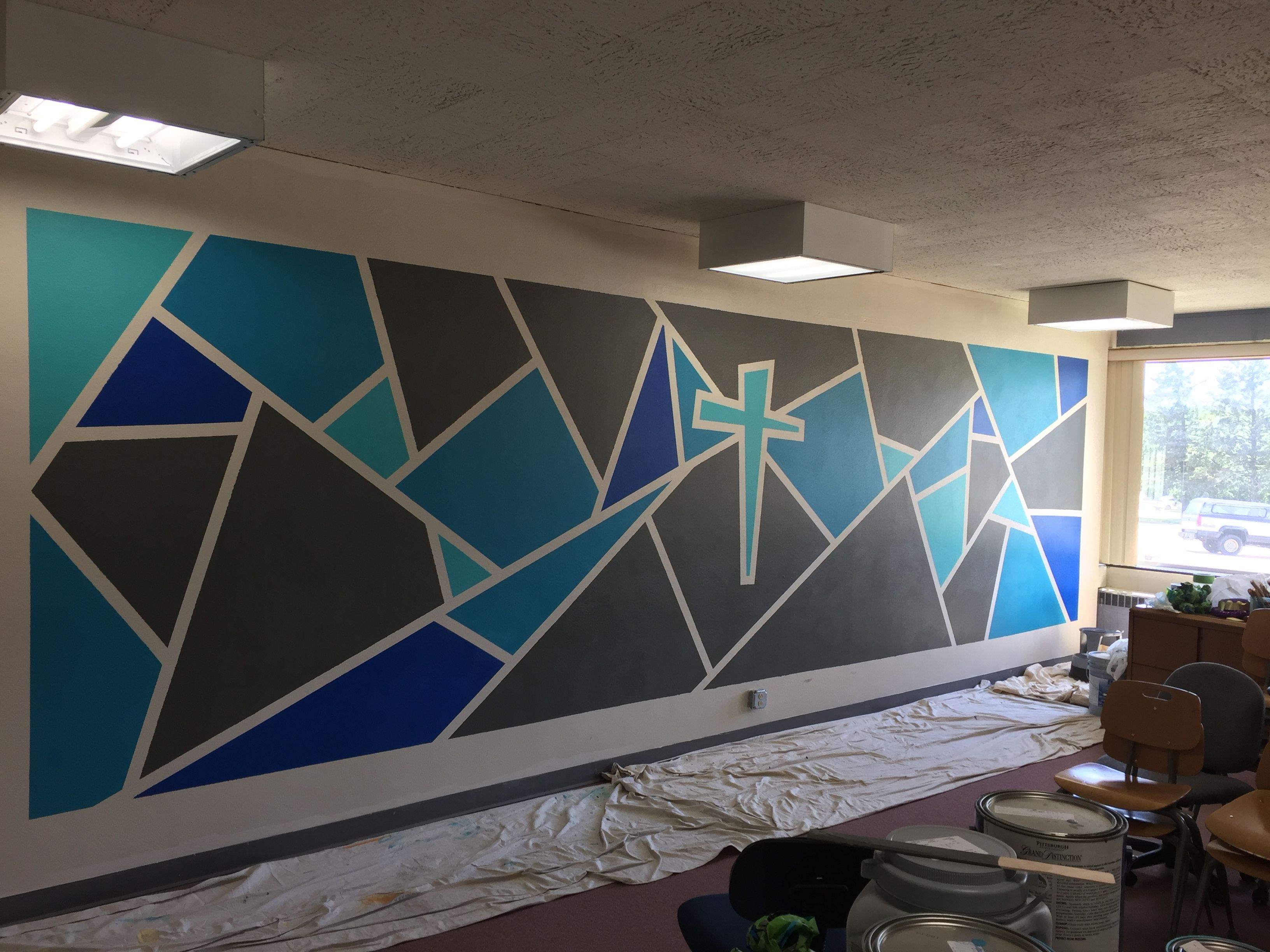 Youth Ministry Room Polygon Wall Design St John Ucc Freeport Il Youth Room Church Youth Group Rooms Youth Ministry Room