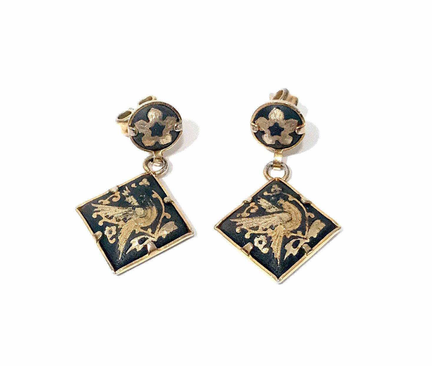 452882cc035 Vintage Damascene Earrings, Pierced Dangle, Black Gold, Bird And ...
