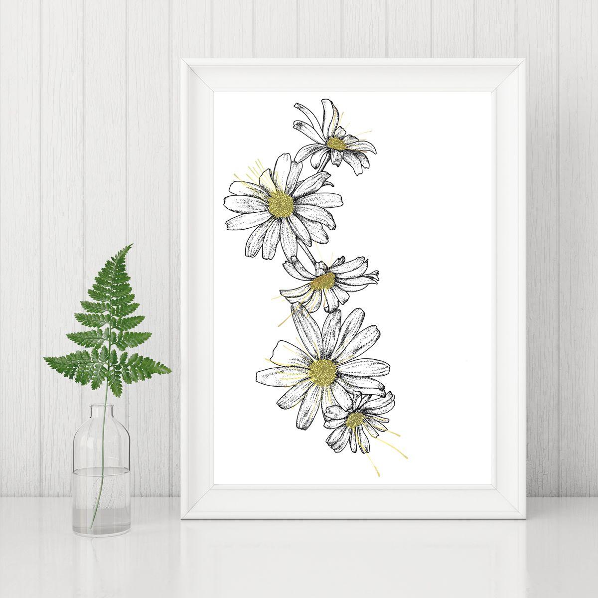 Daisies Print White Flower Print April Birthday Feminine