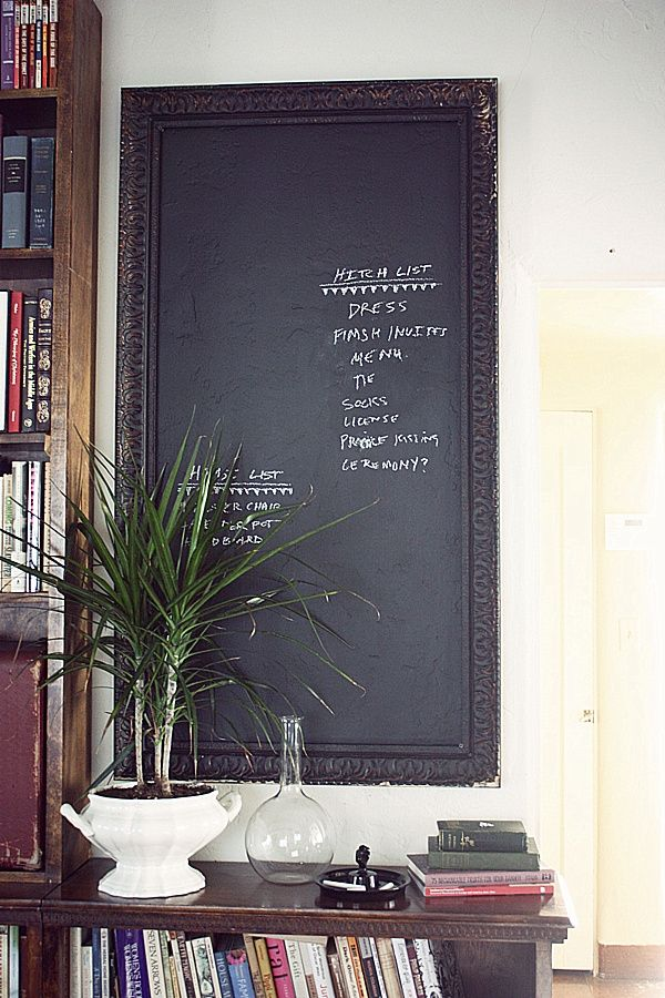 Living room wall decoration DIY chalkboard old picture frame | DIY ...