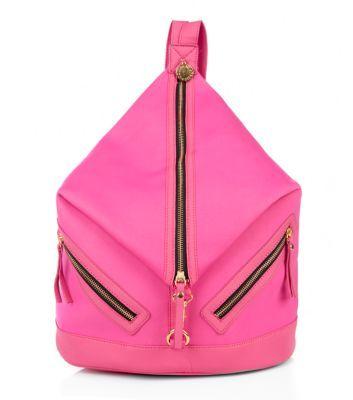 Bright Pink Neoprene Zip Front Backpack