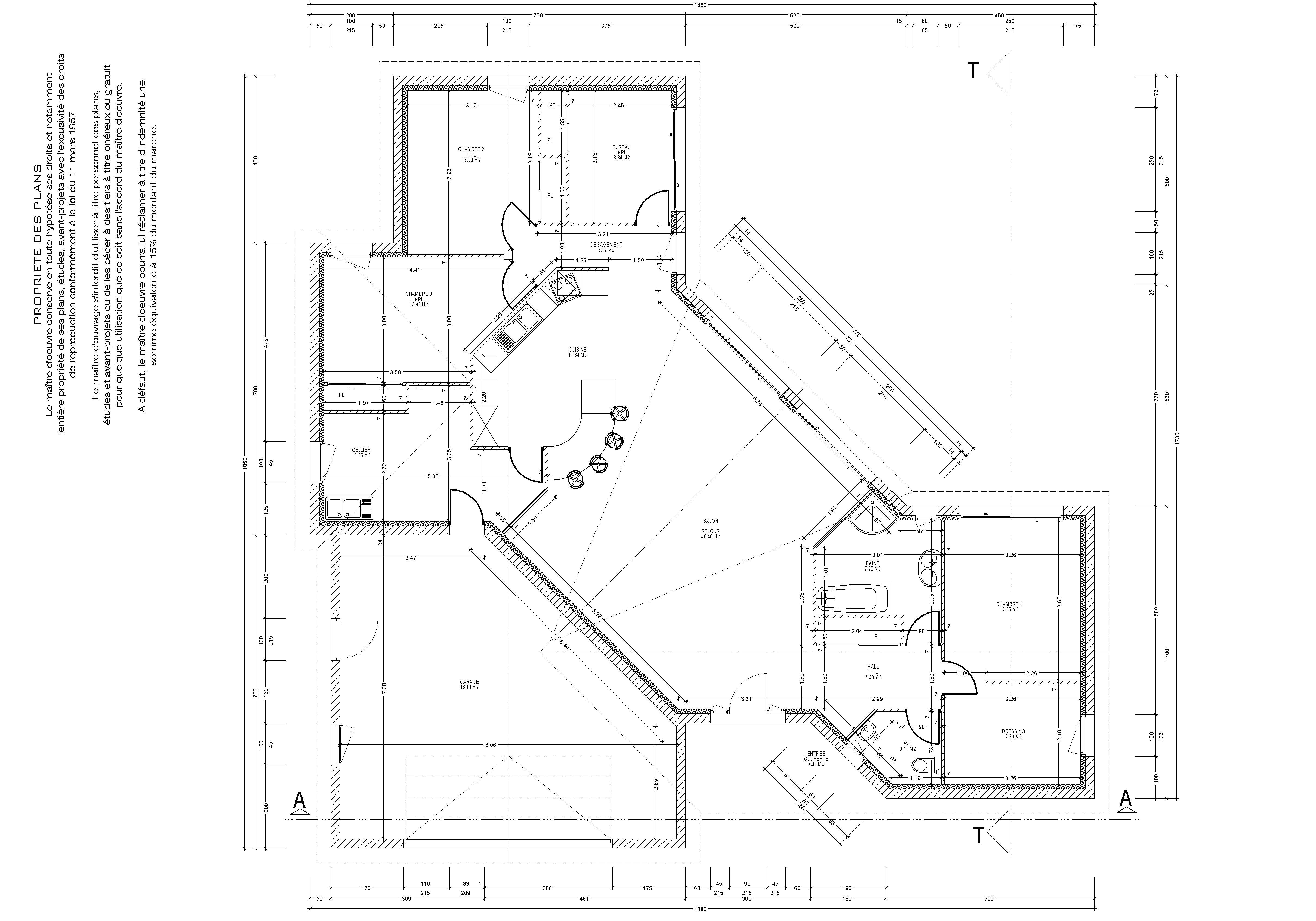 plan de maison a 100m2