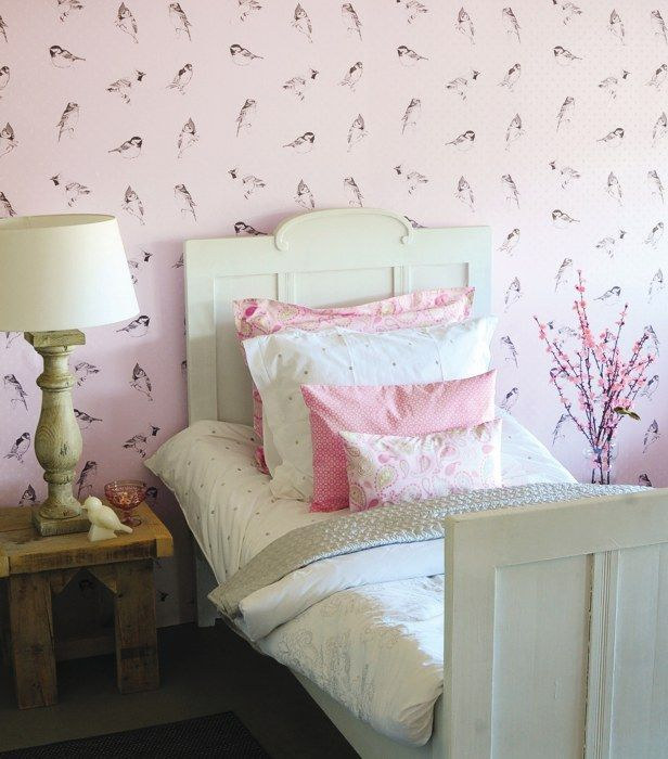 Belle Rose   Brian Yates Wallpapers   Black And White Ink Drawings Of  Garden Birds Set On A Pale Pink Spotted Background. Please Ask For Sample  For True ...