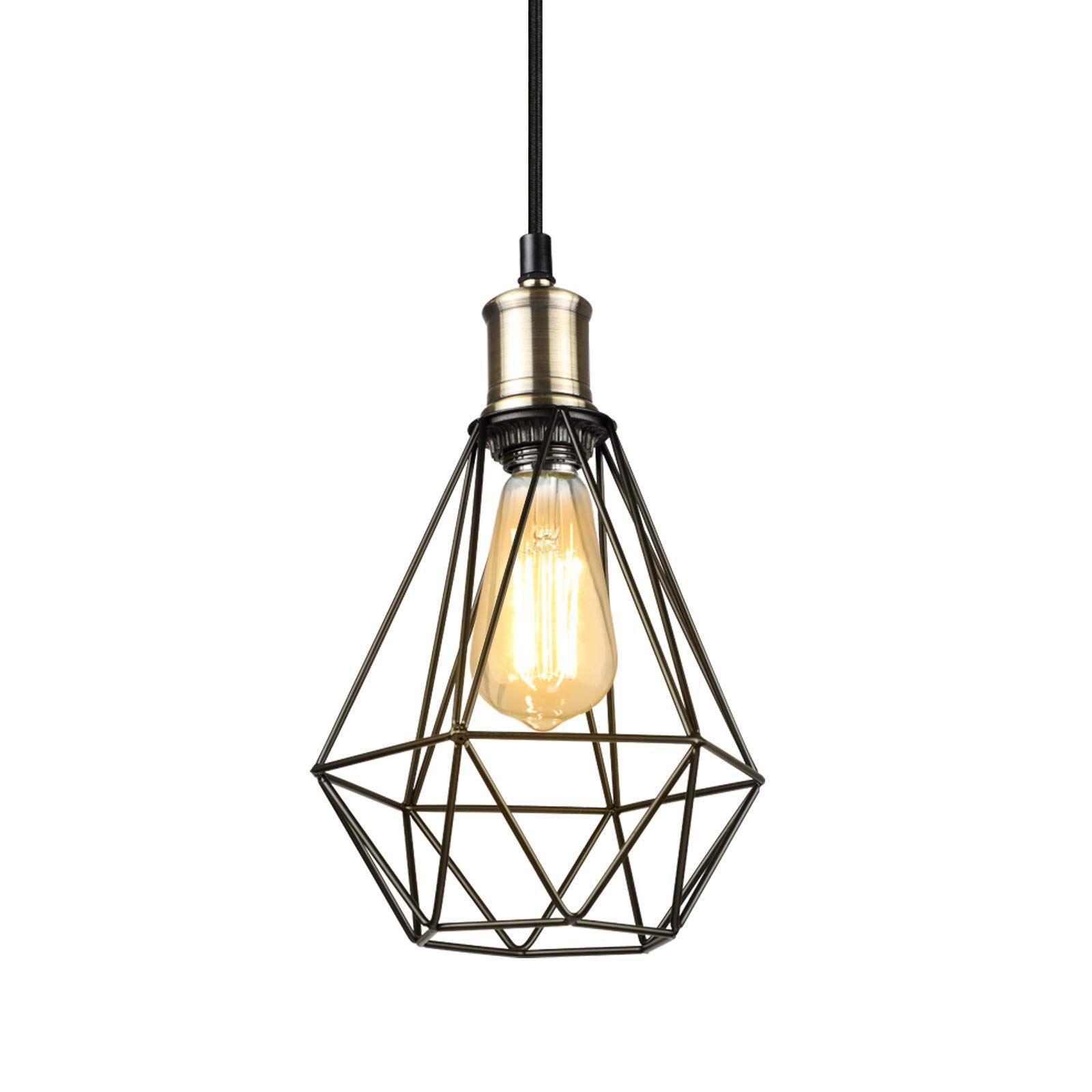 Ascher Industrial Pendant Light Black Metal Cage Hanging Ceiling Lamp Adjustable Cord E26 Base Ceiling Lig Ceiling Lights Ceiling Lamp Hanging Ceiling Lamps