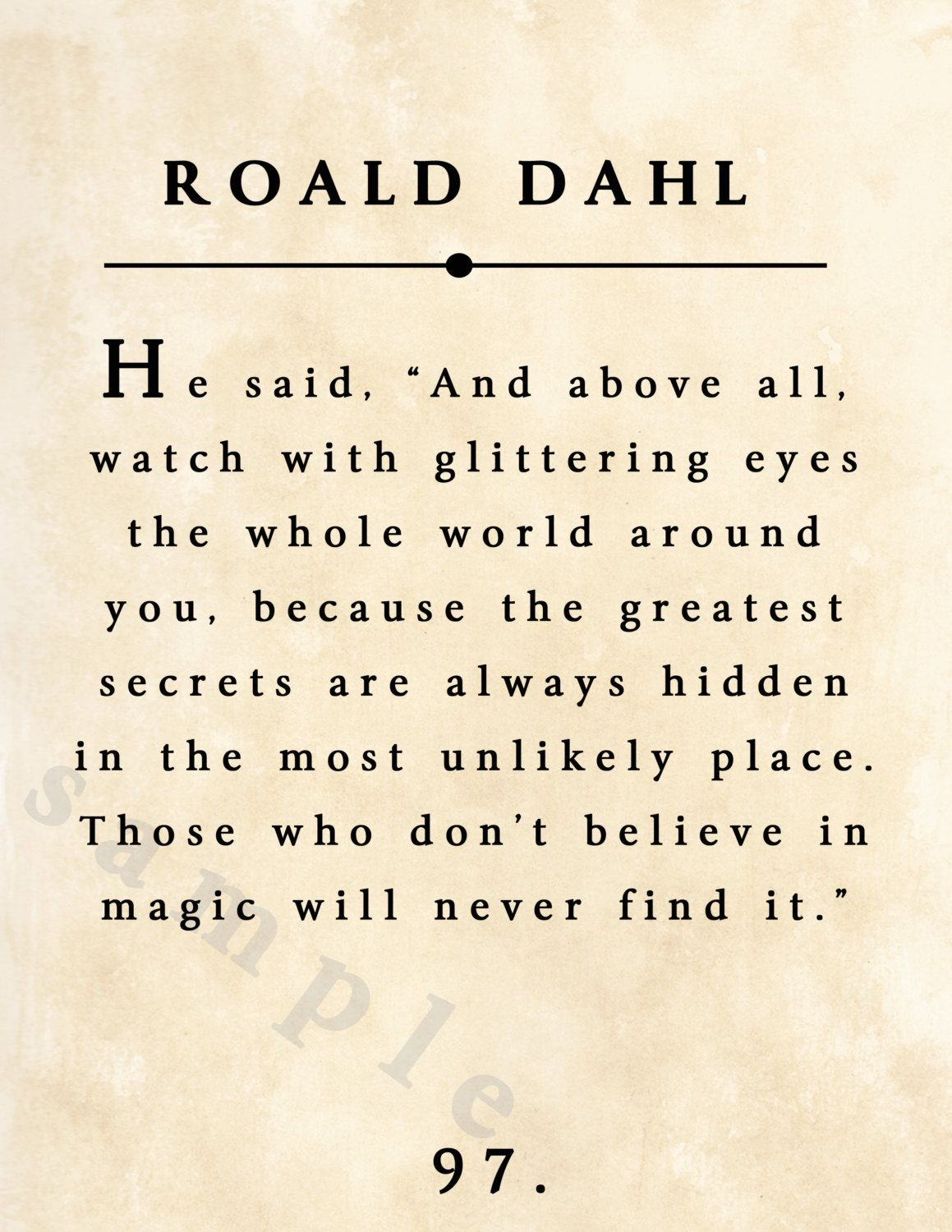 Roald Dahl Digital Print Instant Download With Distressed Old Book Page Background