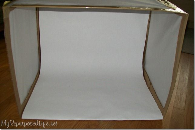 Using a box and tissue paper (and I'll probably use posterboard for the slope) to make a light photo box - I need one of these, and this looks simple and cheap enough, though if you wanted a sturdier one, could make from pvc frame. This will do if I can store it carefully enough. #photography #DIY