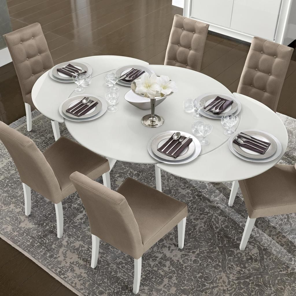 Bianca White High Gloss Glass Round Extending Dining Table 1 2 1 9m Cam Dama Round Extendable Dining Table Glass Round Dining Table Expandable Dining Table