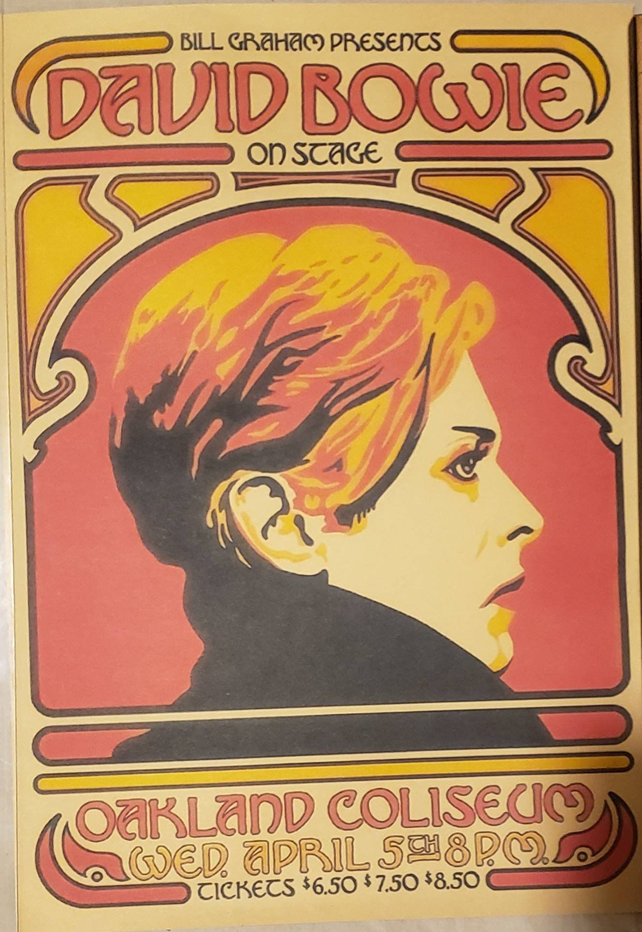 David bowie concert poster reproduction for his concert at
