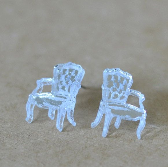 Acrylic Chair Earrings Aretes Silla En Acrilico Post Earrings Earrings Surgical Steel Earrings