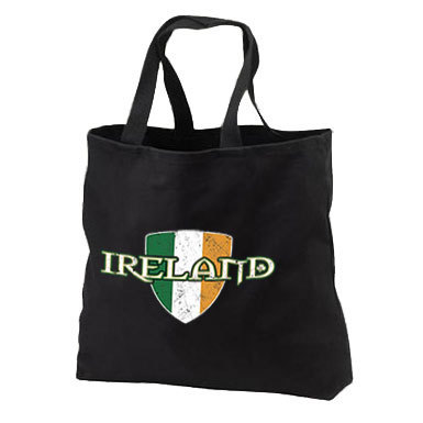 17.99$  Buy now - http://vilbr.justgood.pw/vig/item.php?t=2i8fguq33408 - Ireland Flag Crest New Black Tote Bag, Show Your Irish Pride