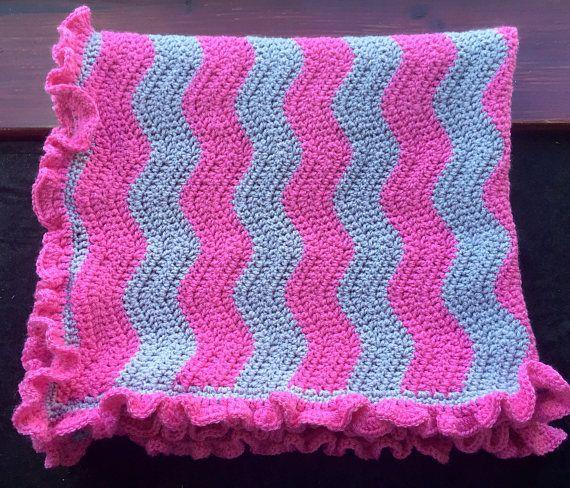 Crochet Baby Blanket Ruffle border Ripple afghan babyshower | To ...
