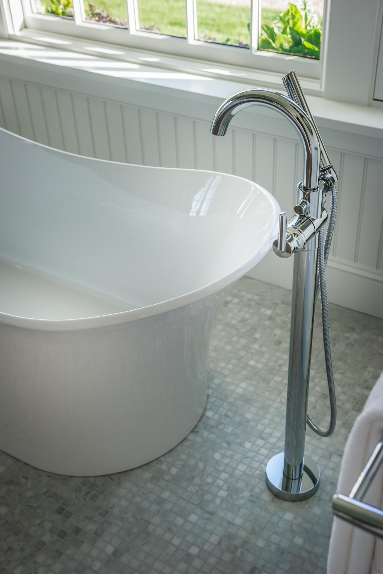 A Floor Mount Tub Filler I Love This Idea This Would Be Perfect