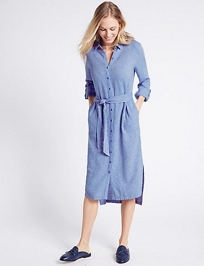 M/&S COLLECTION Women/'s Cotton Rich Striped T-Shirt Midi Dress NEW!!