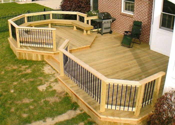 Backyard Double Deck Idea In 2020 Small Backyard Decks