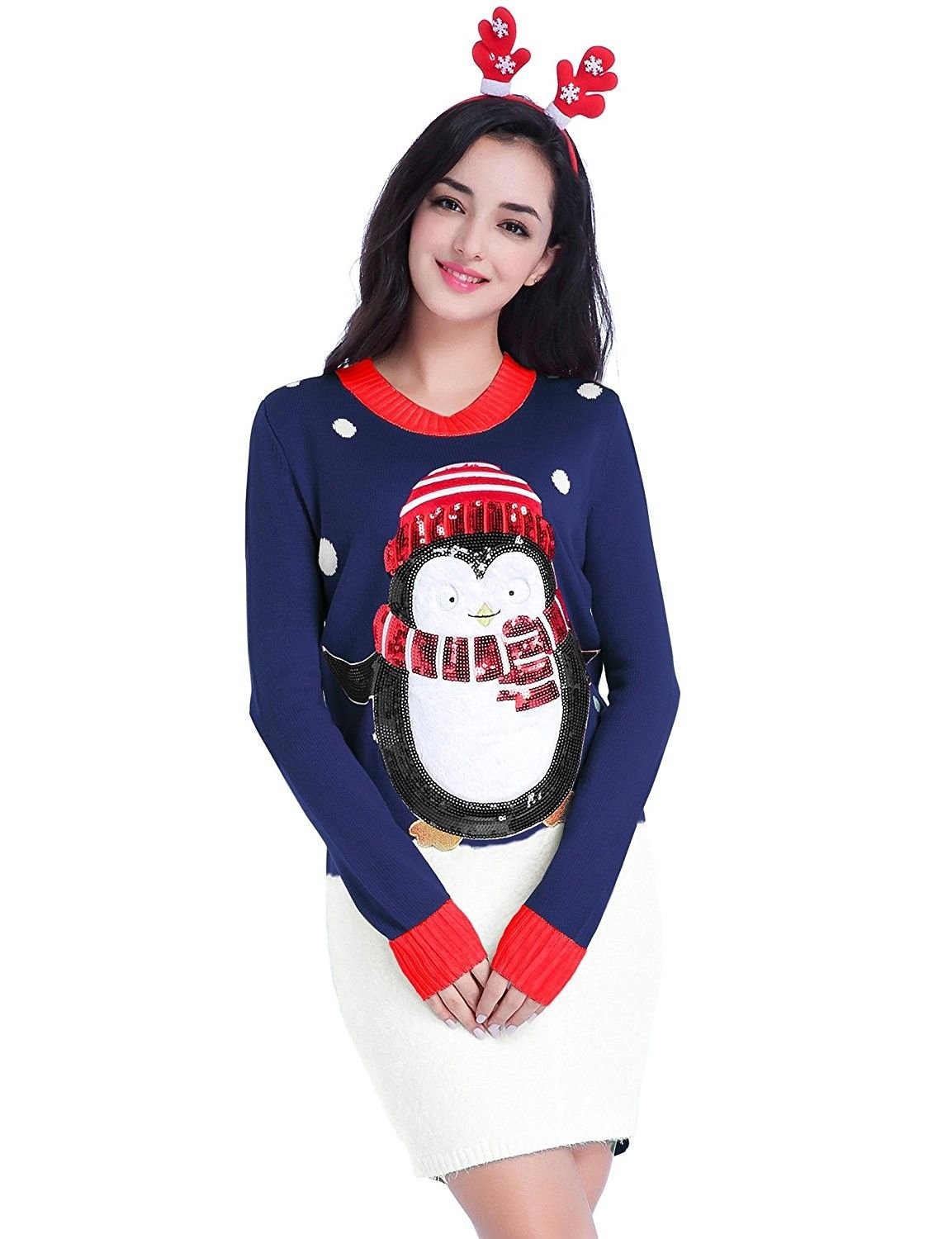 7461fef6 Women's Clothing, Sweaters, Pullovers, Women Christmas Sweater- Ugly  Shining Penguin Xmas Sweater Knit Jumper Dress - Cute Penguin Navy -  CU1857GUG6R #style ...