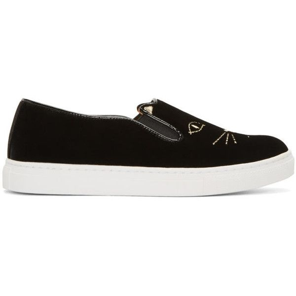 Charlotte Olympia Black Velvet Cool Cats Sneakers (3905 MAD) ❤ liked on Polyvore featuring shoes, sneakers, black, cat trainer, low profile sneakers, black trainers, black slip on shoes and black slip on sneakers