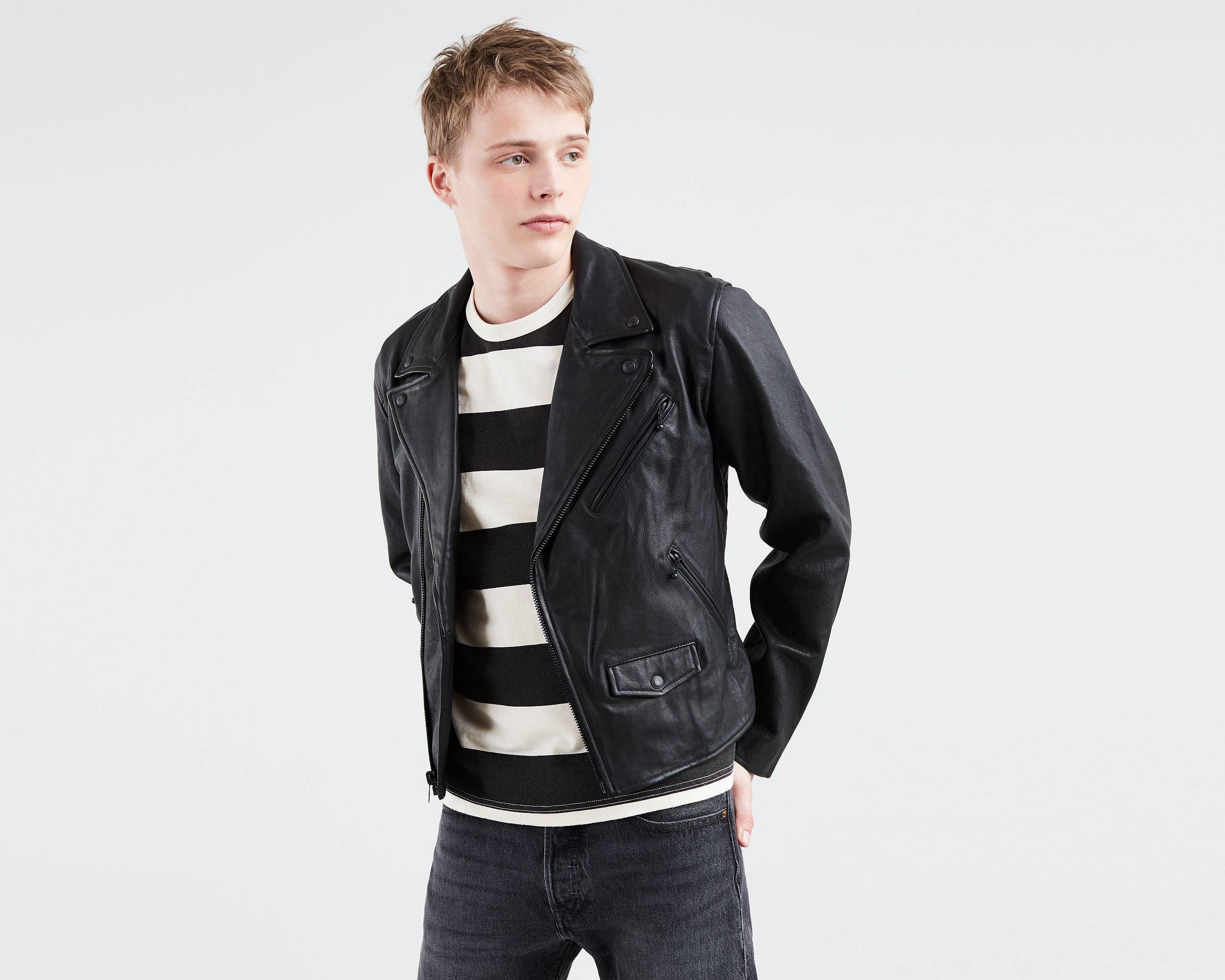 Levi's Leather Moto Jacket Black S Short leather